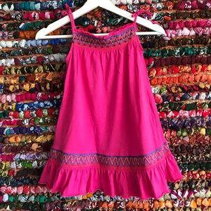 GAP Boho hot pink beaded smocked ruffled dress